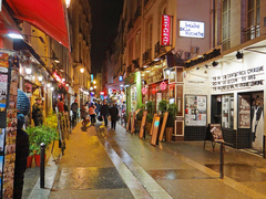 Restaurants de Saint-Michel, rue de la Huchette, Paris
