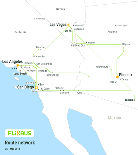 FlixBus USA network map bus routes