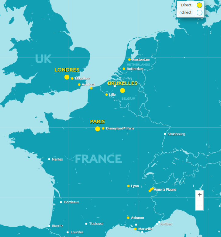 Carte réseau lignes train Eurostar France Europe