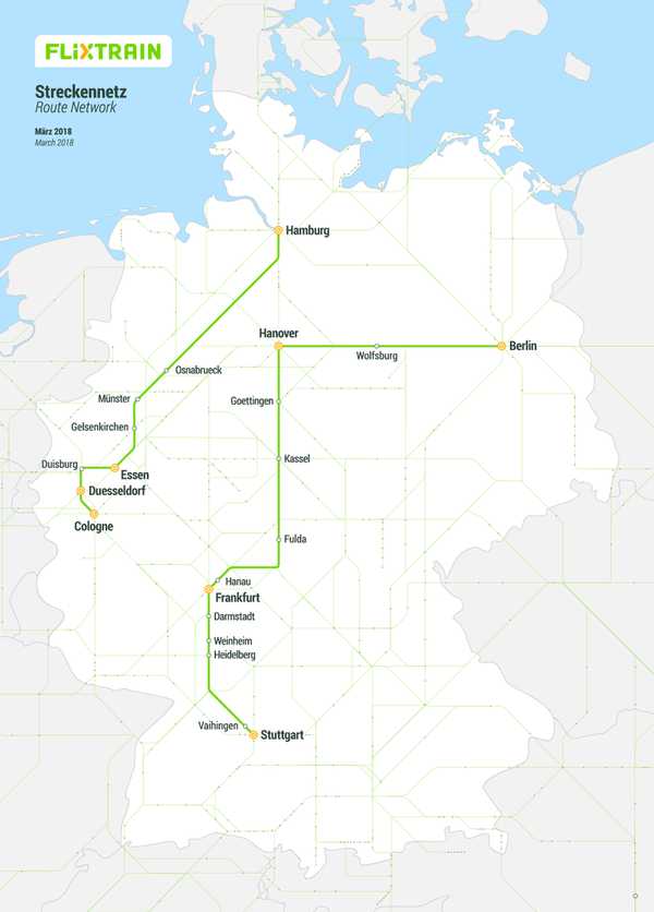 Carte réseau lignes train destinations FlixTrain