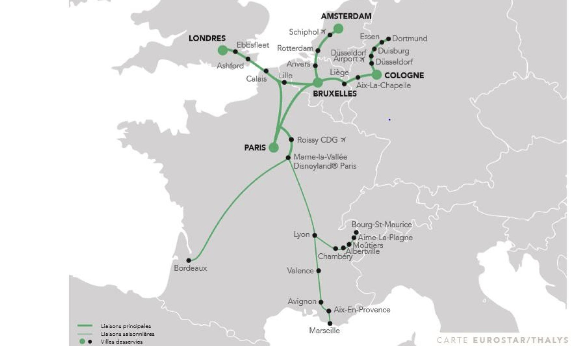 Carte réseau lignes train Green Speed en France et Europe