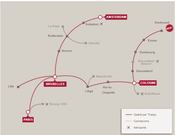 Carte réseau lignes train Thalys France Europe