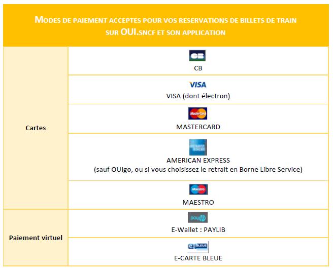Carte American Express Retrait.Les Moyens De Paiement Proposes Sur Oui Sncf Comparabus Com
