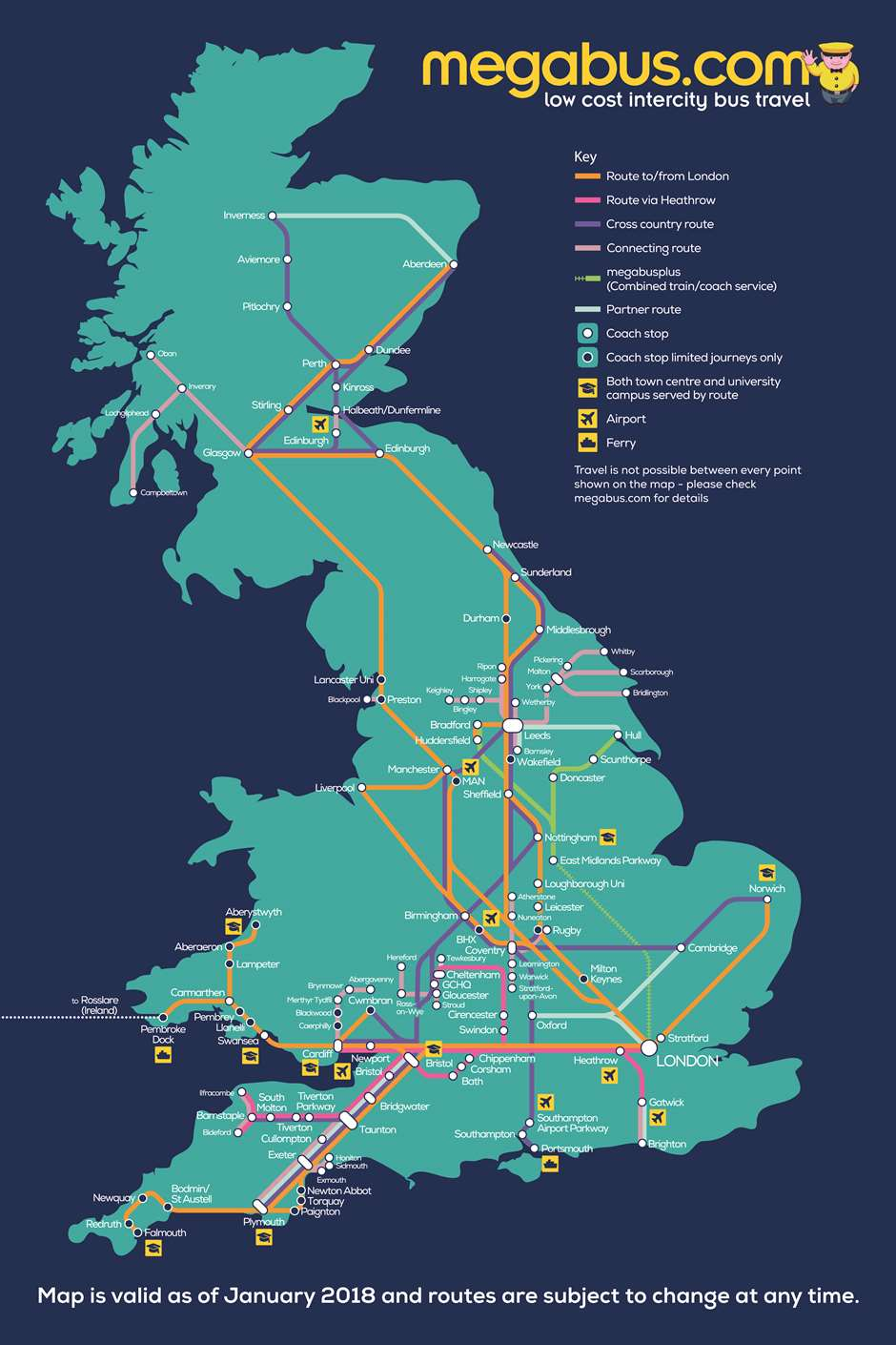 Megabus United Kingdom UK network map bus routes