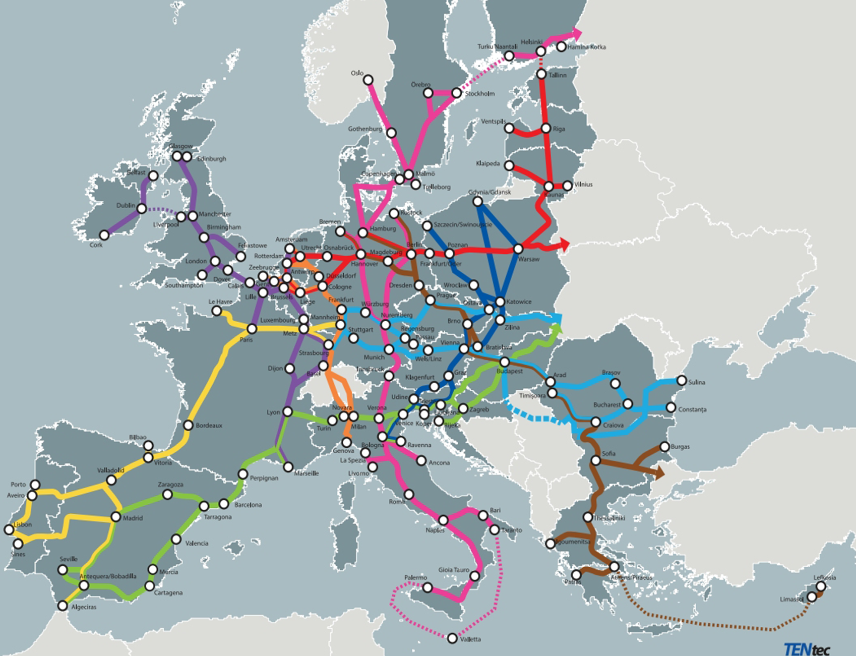 Map train routes railway network destinations Europe